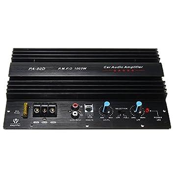 SODIAL 12V 1000W Mono Car Audio Amplificador de Potencia Potente Subwoofers de Bajo Amp PA80D