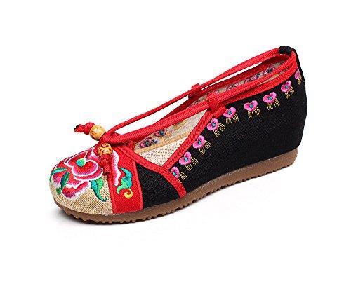 femenina bordados casual Zapatos moda de tela zapatos c¨®modo ¨¦tnico GuiXinWeiHeng tend¨®n black xiuhuaxie de lenguado estilo 4Tqq6Pxw