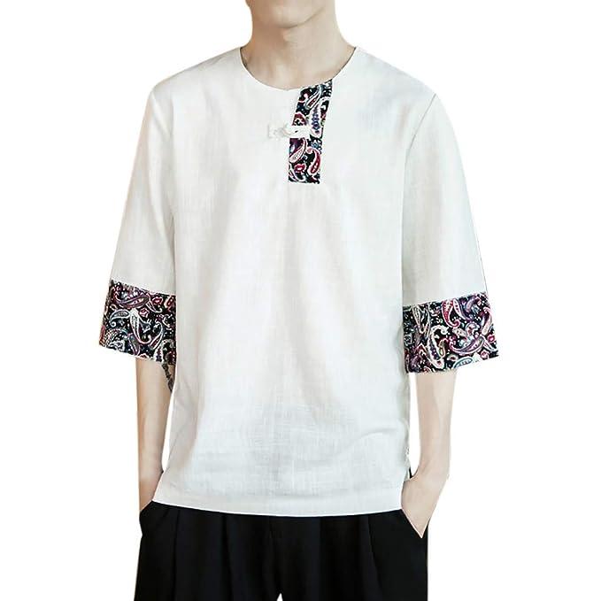 Camiseta de Manga Corta de algodón y Lino para Hombre, Moda China ...