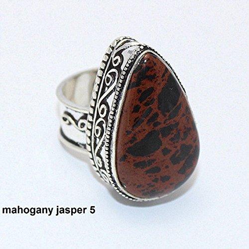 Mahogany Jasper Ring Silver Overlay Fashion Jewellery Vintage Handmade Jewelry 7.50 US Size.