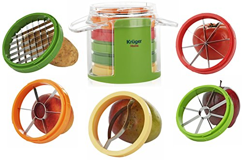 Apple Corer Slicer Wedger - 5 in 1 Vegetable and Fruit Cutter, 5 Stainless Steel Blades, Mango Slicer, Tomato Slicer, Potato French Fry Slicer, Apple Corer, Peach Corer, by Kruger Home by Kruger Home