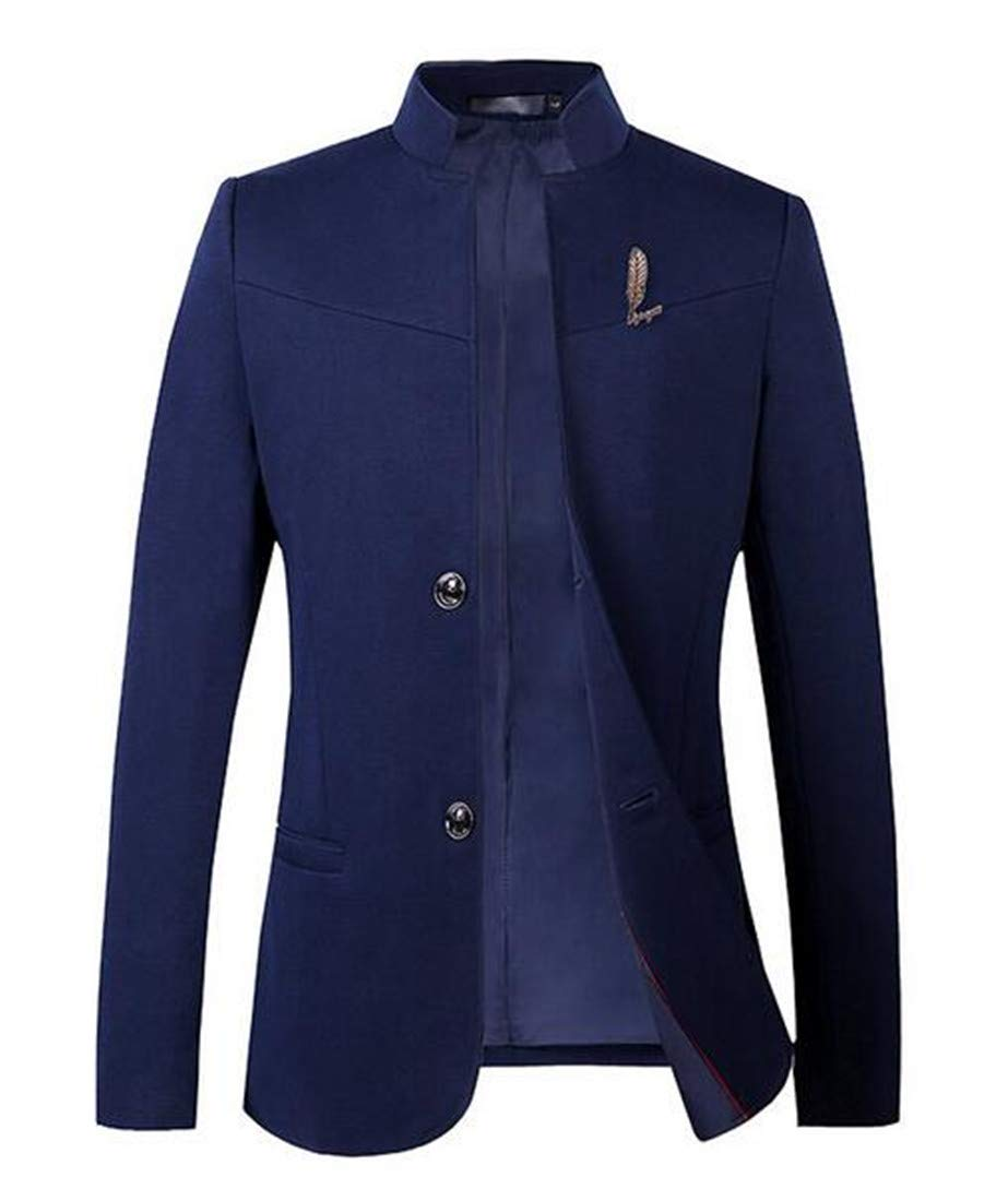 Domple Men's Two Button Wedding Stand Collared Single Breast Blazer Jacket Coat Navy Blue US S