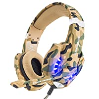 VersionTECH. Gaming Headset PS4 Kopfhörer 3,5 mm PC LED-Licht Spiel Bass Stereo Noise Isolation Over-Ear-Kopfhörer mit Mikrofon Lautstärkeregler für PS4 Neue Xbox one PC MAC Laptop iPad, Camouflage