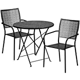 Flash Furniture 30'' Round Black Indoor-Outdoor Steel Folding Patio Table Set with 2 Square Back Chairs