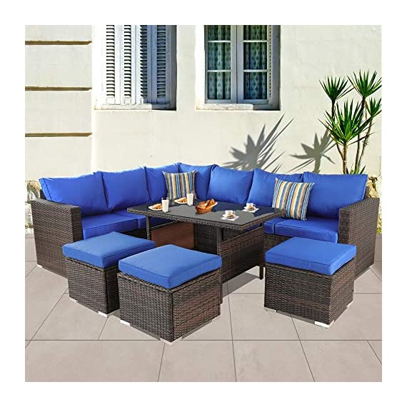Patio Furniture Garden 7 PCS Sectional Sofa Brown Wicker Conversation Set Outdoor Indoor Use Couch Set Royal Blue Cushion - Comfortable Sectional sofa ➢ This mdern comfortable sofa set come with enough room to greet your family party,Sofa have Royal Blue cushions allow for further comfortable and better support while you sit than a traditional cushions and Sofa's table have tempered glass top to Stable hold food and drinks. Brown PE Rattan Sofa Set ➢Mimic the natural wicker material more better than natural rattan,and PE rattan easy to clean and Hand-treated rattan more antioxidant,Outdoor Indoor Use,such as Backyard Porch,Deck ,Garden Poolside,Balcony patio or Even pool Royal Blue Cushioned Sofa ➢Cushion foam is packed in vacuum.it is high elasticity,please put the foam into the Royal Blue cushion cover,then pat it,later the cushion will become plump. - patio-furniture, patio, conversation-sets - 51lgkNFih9L. SS570  -