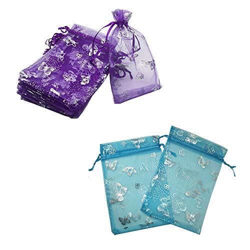 YIJUE 100pcs 4x6 inches Drawstrings Organza Gift Candy Bags Wedding Favors Bags (Butterfly Purple and Turquoise)