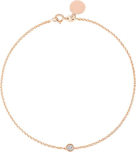 Minimalist Handmade Jewelry Dainty Gift to Women /& Girls Diamond and Gold Bracelet Natural White Diamond and Solid 14k Yellow Gold Charm Chain Bracelet Size 6 Adjustable to 7 Solitaire 0.1 ct
