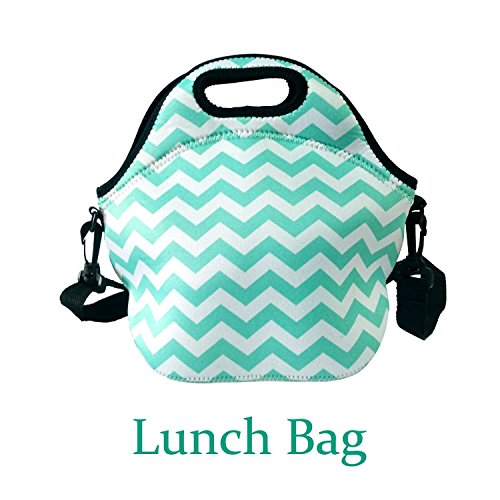 Amerzam Neoprene Lunch Bags/Lunch Boxes, Waterproof Outdoor Travel Picnic Lunch Box Bag Tote with Zipper and Adjustable Crossbody Strap (Light Blue Lunch bag+Water Bottle Tote) by Amerzam (Image #7)