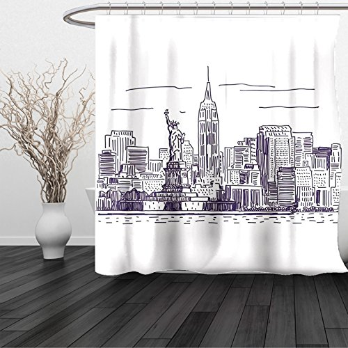 HAIXIA Shower Curtain New York Sketchy Simple View of NYC Statue of Liberty Freedom Symbol Ellis Island Print Purple - Soho Navy Nyc