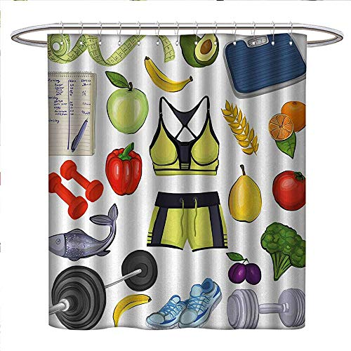 Anniutwo Fitness Shower Curtains Sets Bathroom Hand Drawn Healthy Living Inspiration Icons Vegetables Sportswear Gym Equipment
