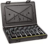 Chicago Latrobe 190F Series High-Speed Steel Reduced-Shank Drill Bit Set With Plastic Case, Black Oxide Finish, Flatted Shank, 118 Degree Split Point, Inch, 8-piece, 9/16'' - 1'' in 1/16'' increments