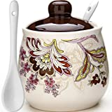 Loraine 400ml (13.5oz) Ceramic Sugar Bowl with Spoon and Cover LR-24843