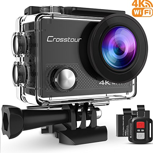 Crosstour Action Camera 4K WIFI Underwater Cam 16MP Ultra HD Waterproof Sports Camera with Remote Control 170°Wide-angle 2 Inch LCD Plus 2 Rechargeable 1050mAh Batteries and Mounting Accessories Kit (Hd Camcorder Waterproof)
