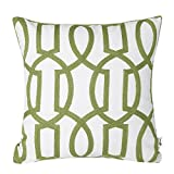Embroidery Geometric Links Accent Decorative Pillow Cover Sofa Cushion Case, Green White,Two Sides