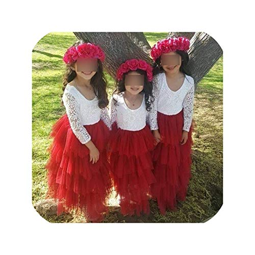 Children Formal Kids Fluffy Cake Smash Dress Girls for Christmas Halloween Birthday,red1,4T -