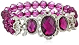 1928 Jewelry 'Jeweled Filigree' Silver-Tone Amethyst Purple Beaded Stretch Bracelet