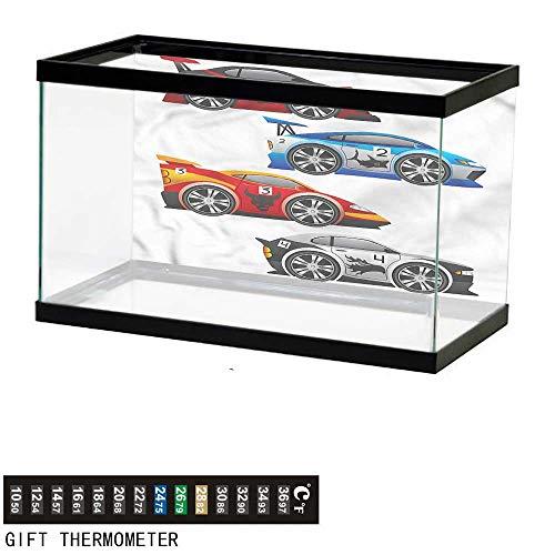 bybyhome Fish Tank Backdrop Cars,Formula Cars Technology,Aquarium Background,24