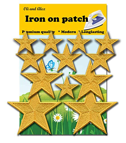 Iron On Patches - Yellow Star Patch 12 pcs Iron On Patch Embroidered Applique - Patches Yellow Star