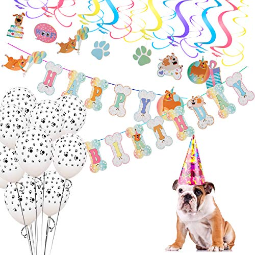Mewtogo Dog Party Decorations- 16 Pcs Hanging swirls, 10Pcs Dog Paws Print Round Latex Balloons and Dog Happy Birthday Banner for Pet Doggy Puppy Birthday Supplies -