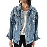 Blue Women's Jean Jacket Denim, Boyfriend Denim Jacket for Women Loose with Pockets Medium