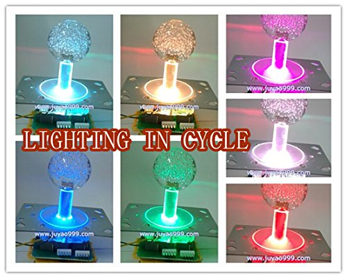 Lighted Ball Top - 2 pcs of 7 lighted Illuminated color joystick with crystal bobble top ball and microswitch , parts for arcade game machine