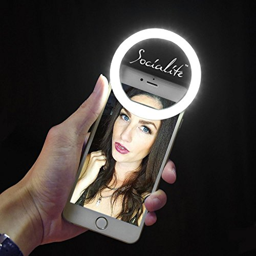 (SOCIALITE Mini LED Ring Light - Dimmable Fill Photo & HD Video Lighting for Vblogs & Selfies Universal Mounts to iPhone 6s 6 Plus 5s iPad Mini Tablet Samsung Galaxy)