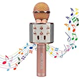 Mockins WS858 Wireless Portable Handheld Bluetooth KARAOKE MICROPHONE Compatible with Android & IOS Apple, Rose Gold
