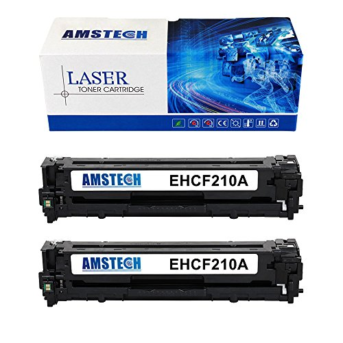 2Pack Amstech 1,600 Pages Compatible Black Toner Cartridge Replacement For CF210A 131A For LaserJet Pro 200 color M251n M251nw MFP M276n M276nw Canon imageClass MF8280Cw
