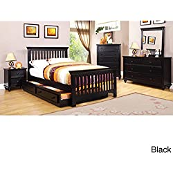 Furniture of America Terry 4-Piece Country Style Youth Bedroom Set Black Twin