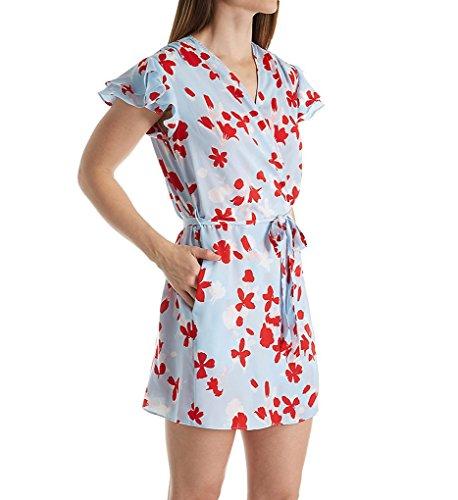 OSCAR DE LA RENTA Pink Label Women's Printed Matte Silky Satin Wrap, Red Shadow Floral, XS/S ()