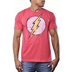 Bioworld The Flash DC Comics Mens Vintage Superhero Bolt Logo Tee Shirt L