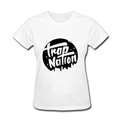 amazon com ommiiy women s trap nation logo t shirts white s clothing