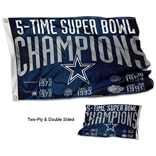 Wincraft Dallas Cowboys Double Sided 5 Time Super Bowl Champions Flag