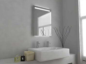 specchio da bagno moderno illuminato con sensore con deumidificatore e presa per rasoio elettrico specchio