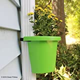 """Hugger - Downspout Flower Pot and Planter That Attaches to Rain Pipe, Fastening Strap Included, approx 7""""w x 6"""" x 7"""", Bright Green"""