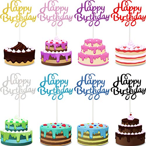Cupcake Birthday Cakes (40 Pieces Happy Birthday Cupcake Toppers Birthday Cake Topper Picks for Birthday Party Cake Decoration, 8)