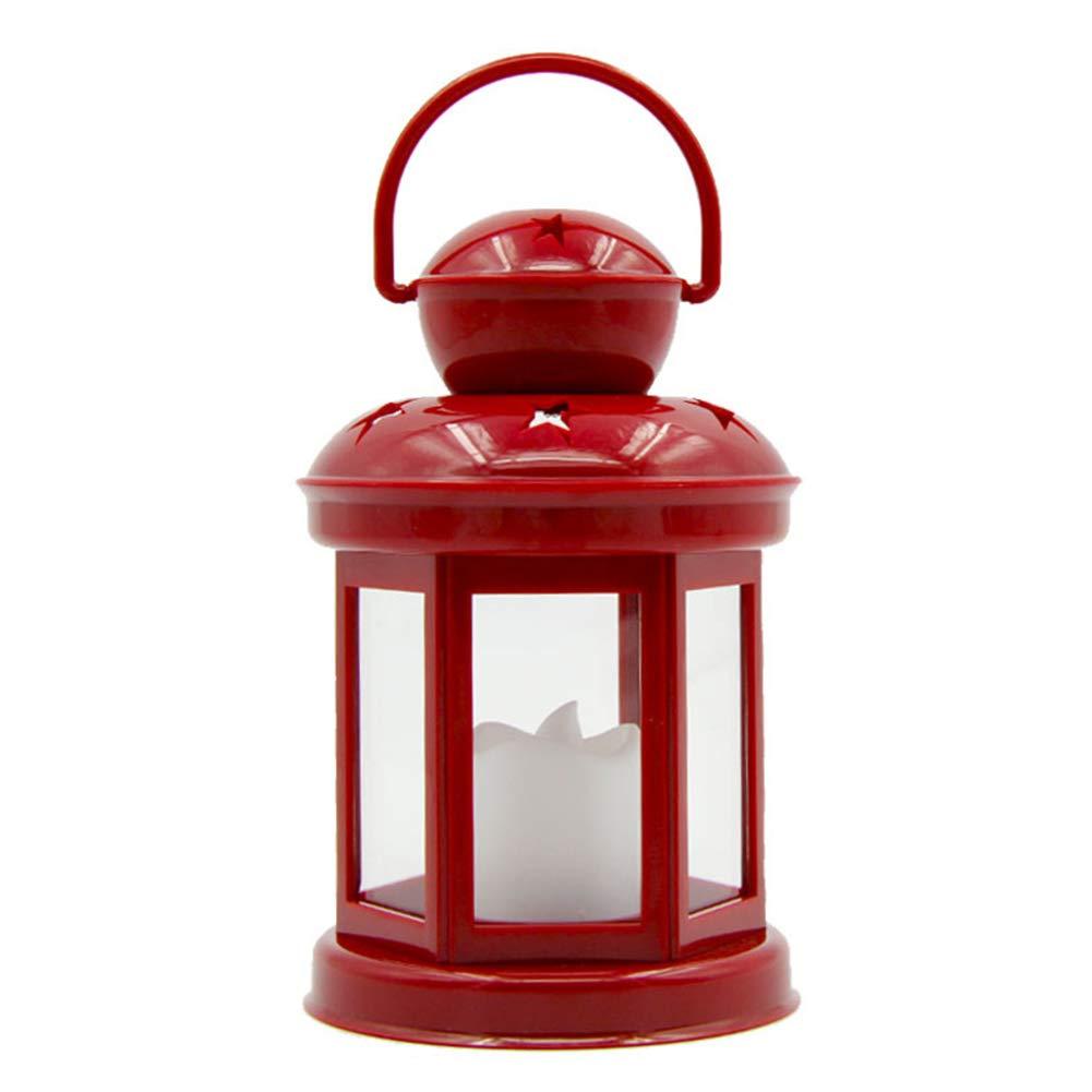 INLAR Table Night Light LED Candle Lantern Battery Powered Decorative Hanging Lantern (Blue)