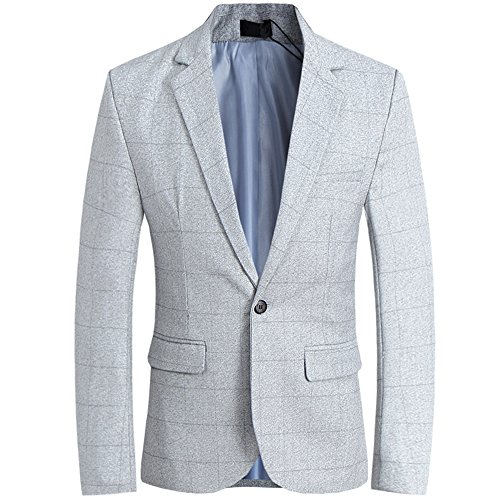 (CCXO Men's Slim Fit Suits Casual One Button Flap Pockets Solid Blazer Jacket (XL, Light Gray))