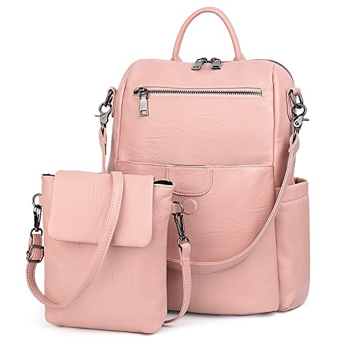 UTO Women Backpack Purse PU Washed Leather Ladies Rucksack Detachable Crossbody Shoulder Bag Pink by UTO