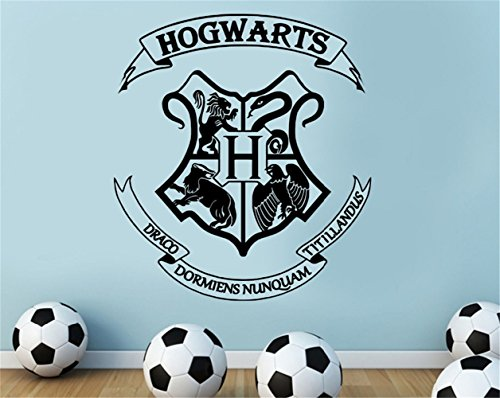 Vinyl Peel and Stick Mural Removable Decals Harry Potter Hogwarts Logo for Boys Room]()