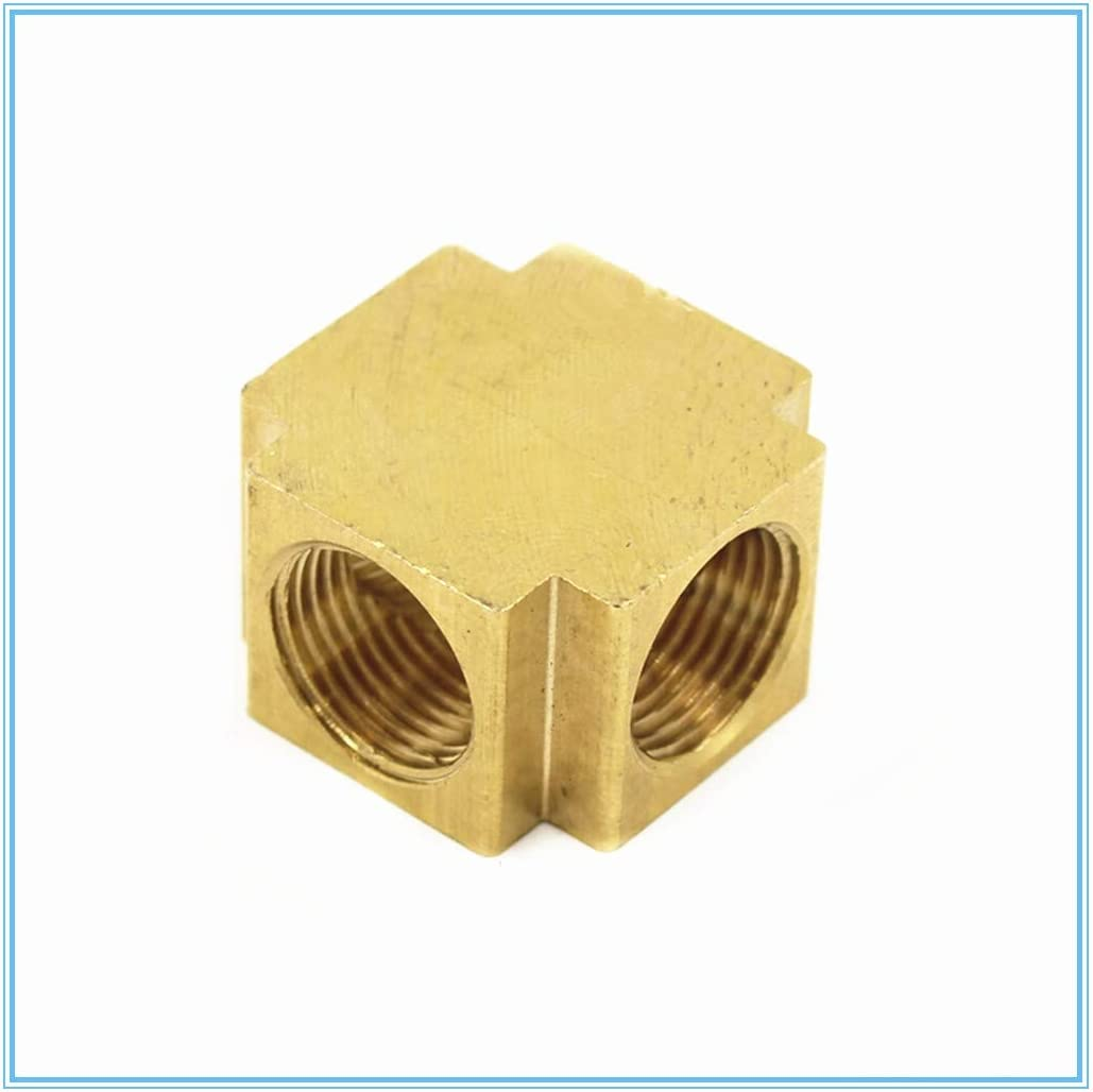 1pc 1//8 1//4 3//8 1//2 4 Way Cross Brass Hose Tube Fitting Tee Joint with Female Thread WSF-Adapters Size : 1//2