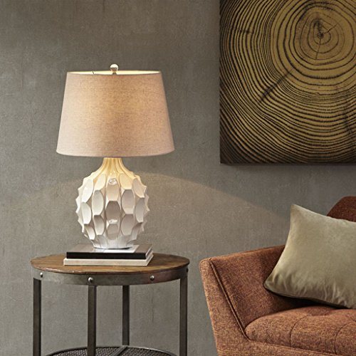 (Romona White Plug Table Lamp , Transitional Unique Metal Ceramic Table Lamps for Bedrooms , 18