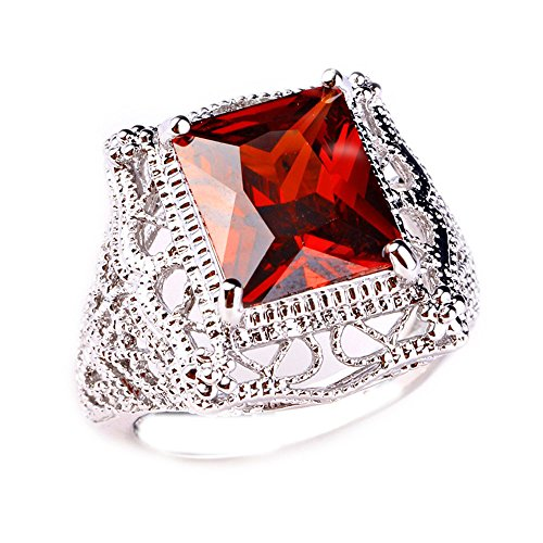 Narica Women's Charming 10mmx12mm Princess Cut Garnet Engagement Ring ()