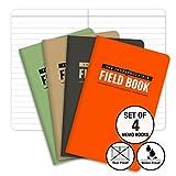 The Indestructible, Waterproof, Tearproof, Weatherproof Field Notebook - 3.5''x5.5'' - Combo Colors - Lined Memo Book - Pack of 4