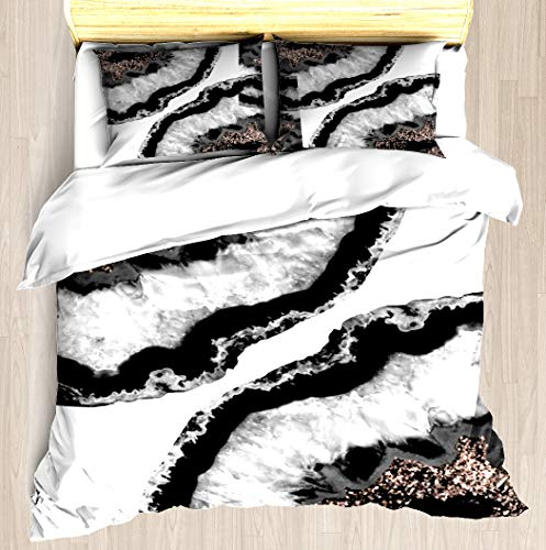Gray Black White Agate Glitter Glamor Duvet Cover Set Unique Printed Exclusive Designed Pattern Comforter Bedding Cover Pillow Shams 3 Piece Bed Duvet Cover King/Cal King (Agate Rose Gold White)