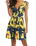 LuckyMore Women's Low Cut Floral Printed Summer Above Knee Sleeveless Dresses Yellow M