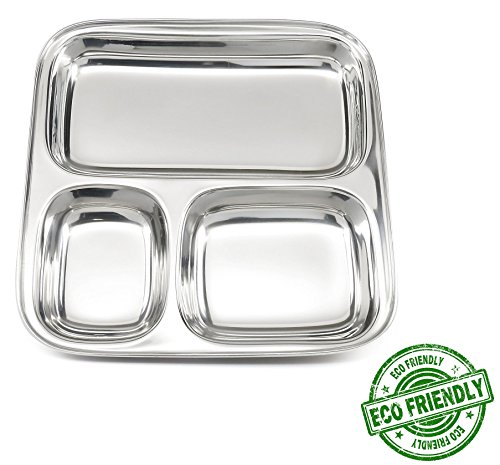 Lifestyle Block Stainless Steel Plastic-Free 3 Compartment Stainless Steel Kid's Plate – Small Divided Kid Plate