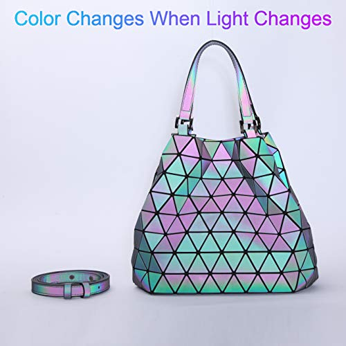 Messenger No Luminous Women Top 3 Purse for Bags and Holographic Handle Zipper Closure Handbags Bag Satchel with Geometric dXxUaqOwX