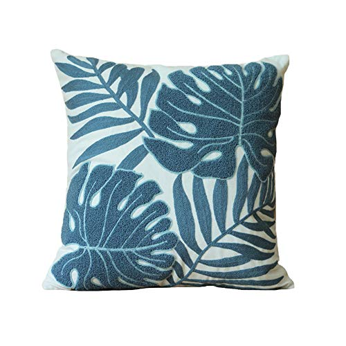 (Simple Stylish Throw Pillows Cover Home Decorative Square Cushion Covers Leaf Jacquard Pillow Protectors 18x18 Pillow Case for Office Bed Car Couch Sofa Chair (Blue))