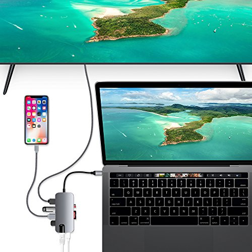 USB C Hub, ALLEASA 8 in 1 Type C Adapter with 4K HDMI, Gigabit Ethernet, 100W USB C Power Delivery, 3 USB3.0, SD TF Card Reader for MacBook Pro 13'' 15'' 2018/2017 Chromebook DELL XP Windows (Grey) by ALLEASA (Image #6)